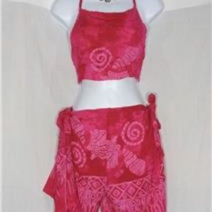 Other - TAHITI TIE WRAP PINK WITH SEA SHELLS 2 PC SARONG